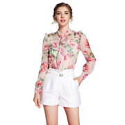 Spring Womenand039s Silk Print Floral Long Sleeve Blouse Casual Tops Vest Two-piece