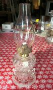Antique Oil Lamp Fish Scale 2 Finger Footed Hand Lamp 14-3/8 Tall Over All