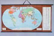 Old Antique Vintage Retro School Wall Map - The World In 1871 - 1914. Historical