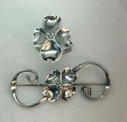 Vintage Sterling Silver Dogwood Ring And Brooch Pin Set By Nye