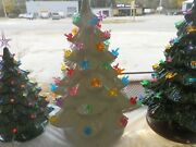 Beautiful White Gloss Glazed Ceramic Christmas Tree With Candle Lights And Star