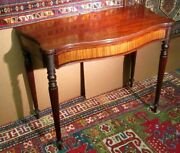 38 Wide Antique American Boston Federal Table W/ Satinwood Panels Circa 1800