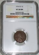 1914-d Lincoln Cent Ngc Graded Vf30 Bn  Key Date Low Mintage Rare