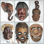 Old Vintage Hand Carved Decorative Wooden Mask Wood Art Home Decor Collectible