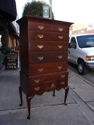 Outstanding Mahogany Queen Anne Highboy Crafted By Pug Moore 20thc.