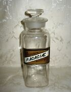 1800's Antique Apothecary Bottle P.acaciae Label Under Glass 9 3/4 Height