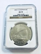 1987 P Constitution Bicentennial S1 Ms70 Silver Dollar - Ships Fast