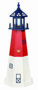 Amish Made Poly Garden Lighthouse - Patriotic Barnegat - Size And Lighting Options