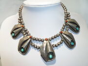 Unsigned Turquoise Red Coral Sterling Navajo Squash Blossom Necklace Old Pawn