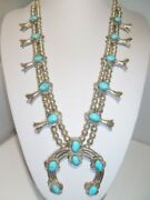 1940s Unsigned Sleeping Beauty Turquoise Sterling Navajo Squash Blossom Necklace