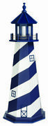 Amish Wood Garden Lighthouse Cape Hatteras Patriot Blue And White - Light Options