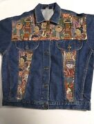 Vintage Denim Jean Jacket First Element Its A Small World Blue Made In Usa