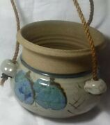 Vintage Ceramic Hand Painted Blue Brown Glossy Pottery Planet Rope Hangin.