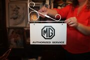 Very Rare Original Mg Dealer Authorized Service Sign And Bracket 1950and039s 7 X 12