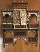 Antique Egyptian Wall Shelves Console Arabesque Work Inlaid Mother Of Pearl