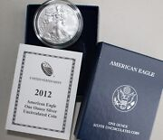 2012 W Burnished Bu American Silver Eagle Dollar Us Mint Ase Coin Coa And Box