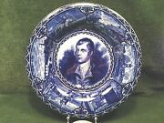 S. Hancock And Son Deep Blue And White Robert Burns 10 Plate From 1930and039s
