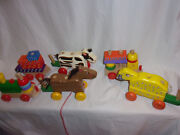 Heavy Duty Wooden Pull Along 7 Horse Cow Sheep Train Stacking Learning Toy