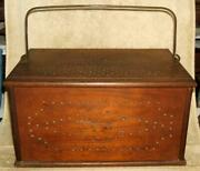 1800and039s Large Chestnut Wood Carriage Warmer With Tin Coal Holder