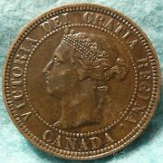 Canada 1886 Au-unc Large Cent, Repunched 6, Obverse Oc-2 Variety High Grade