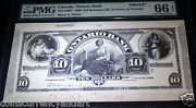 Canada,ontario Bank 1888 10 . Pmg Graded Gem Unc 66 Epq .proof For Approval