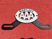 Original Aaa Auto Club Maryland White Nos Accessory License Plate Topper