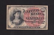 Ten Cents Fourth Issue Fractional Currency Fr1258 Lrs Unmarked Au