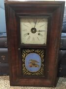 Antique 1800s E.n. Welch Weight Driven Clock Eagle Reverse Painting On Glass