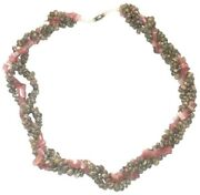 Necklace Shell Rope Statement Chunky Stones Pink White Womens Vintage