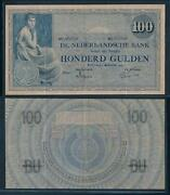 93842] Netherlands 1921 100 Gulden Seated Woman Grietje Seel Bank Note Fine+ P39