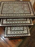 Antique Handmade End Table Set Wood Tables Inlaid Mother Of Pearl