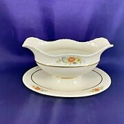 Lenox Temple Blossom Gravy Boat W/attached Underplate