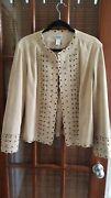 Chicos Size 2 Beige Suede Jacket. Great Detail. Hook Front. Excellent Condition