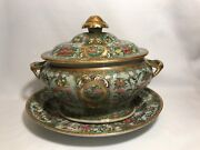 Chinese Export Famille Rose Canton Sauce Tureen With Under Plate-circa 1800and039s