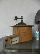 Antique Coffee Mill Grinder Mill Cast Iron And Wood Old Vintage Western Decor Era