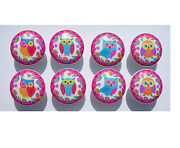 8 Cute Colorful Owls Hot Pink Border Kids Dresser Drawer Knobs Made As Ordered
