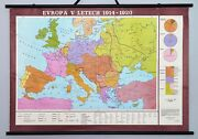 Antique Vintage School Wall Map Poster - Europe In 1914 - 1920. Retro Wall Decor