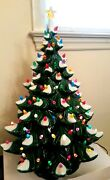 Vintage Electric 20.5 Christmas Tree Ceramic W Snow And Lights 3 Tier And Stand