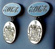Traditional Gold Oval Chained Cufflinks Hand Engraved Family Crest/monograms
