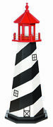 Amish Made Wood Garden Lighthouse - St. Augustine - Size And Lighting Options