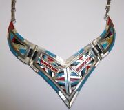 Zuni Coral Opal Turquoise Necklace Sterling Multi Color Inlaid Mop Southwest