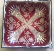 Bohemian Crystal Large Red Bowl Dish Czech Republic 24 Pbo 11x11 New With Box