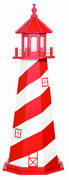 Amish Made Wood Garden Lighthouse - White Shoals - Size And Lighting Options