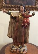 Beautiful Virgin Of Carmen Polychrome Wood Decorated In Thin Sheet Of Gold.