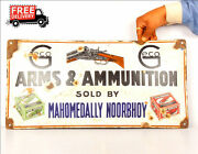 Vintage Arms And Ammunition Sold By Mahomedally Noorbhuy Porcelain Enamel Sign