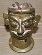 Antique Brass Hand Carved Lord Shiva Face Tribal Worshiped Collectible Rich Pati