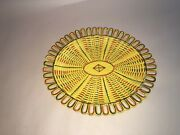 Lc5 Staffordshire Canary Yellow Reticulated Tray Silver Resist Enamel Ca. 1815