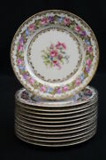 1940's Set 12 Noritake Lady Rose Handpainted China Bread And Butter Plates 4082