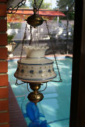 1973--vintage Quoizel Ceiling Lamp Flowers Milk Glass Hurricane With 3-way Light