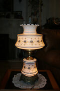 1973--vintage Quoizel Table Lamp Flowers Milk Glass Hurricane With 3-way Light
